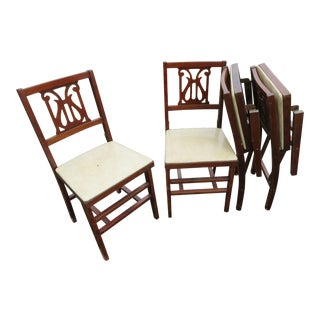 1950s Antique Folding Chairs - Set of 4 For Sale