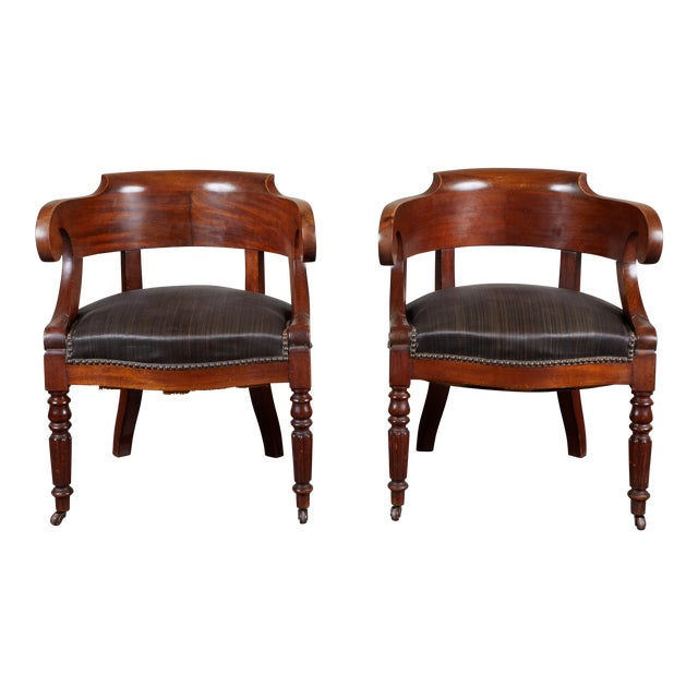 Pair of 19th C. Swedish Mahogany Armchairs For Sale
