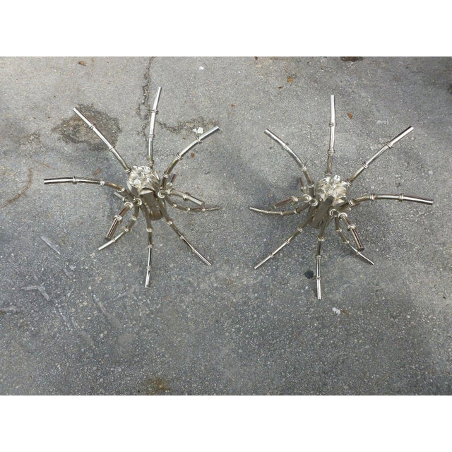 1970s 1970's Mid-Century Modern Chromed Artichoke Bamboo Table Bases - a Pair For Sale - Image 5 of 11