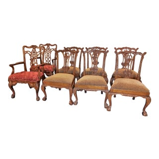 Maitland Smith Carved Mahogany Dining Chairs Set - Set of 8 For Sale