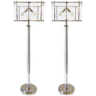 Pair of Polish Nickel and Acrylic Floor Lamps by Charles Hollis Jones