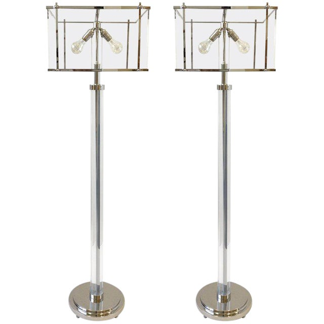 Pair of Polish Nickel and Acrylic Floor Lamps by Charles Hollis Jones For Sale