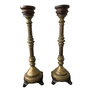 Antique Italian Standing Altar Candle Holders - a Pair For Sale