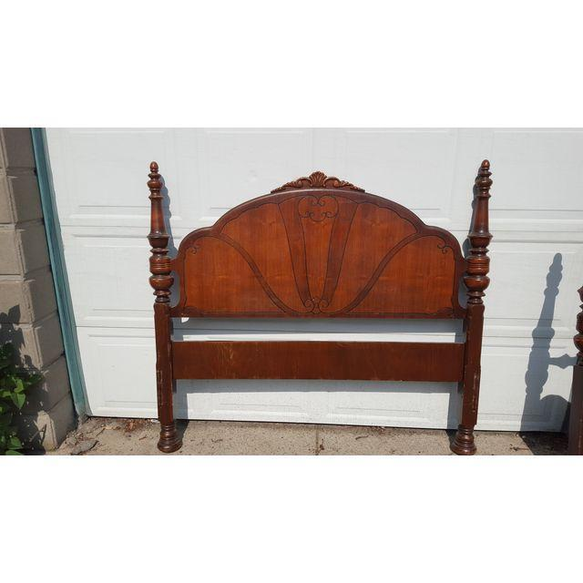 Antique Art Deco Waterfall Bed Set - Image 4 of 4