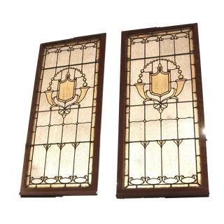 Vintage Mid Century Jeweled Stained Glass Windows- A Pair For Sale