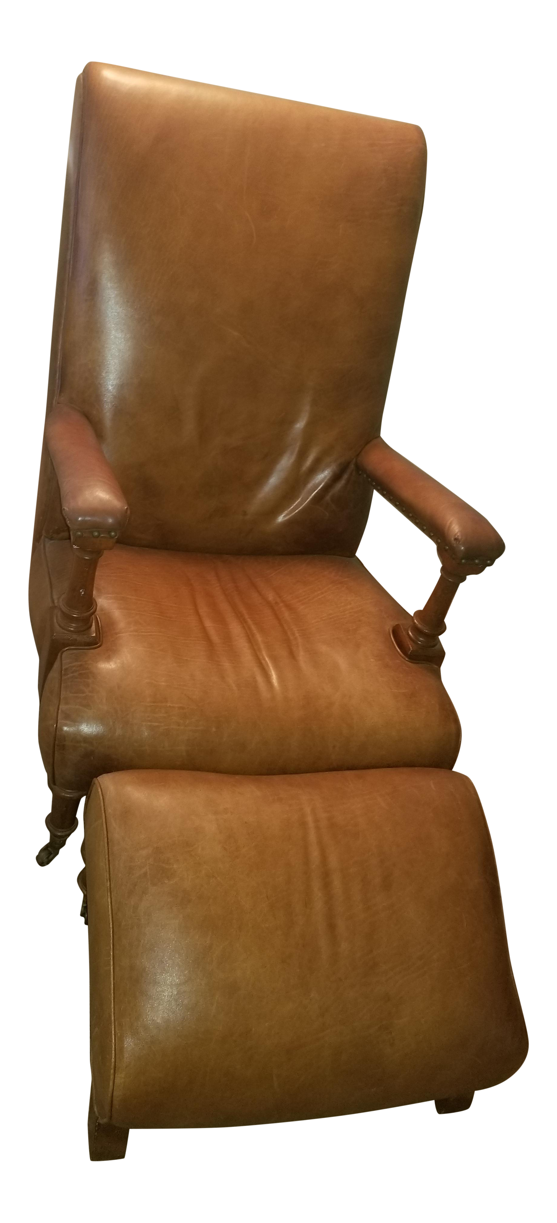 Ralph Lauren Leather Club Chair With Footrest   A Pair