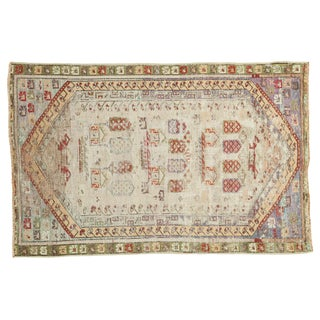 Vintage 1940s Turkish Oushak Distressed Rug - 3′1″ × 4′5″ For Sale
