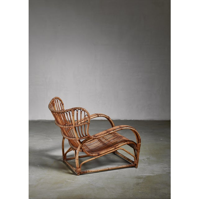 A rare model VB 136 lounge chair by Viggo Boesen for E.V.A. Nissen & Co, Denmark. This bamboo chair was designed in 1936...