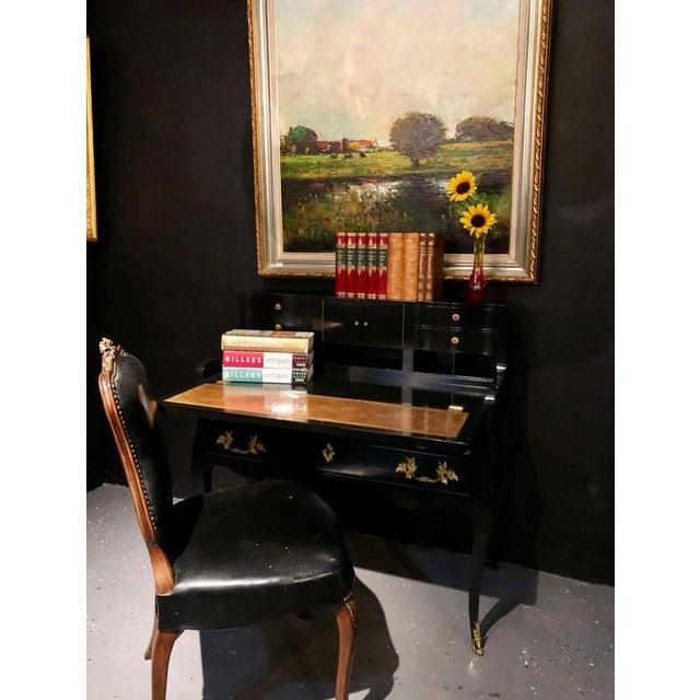 Hollywood Regency Ebony Ladies Desk Louis XV Style Stamped Jansen For Sale - Image 10 of 13