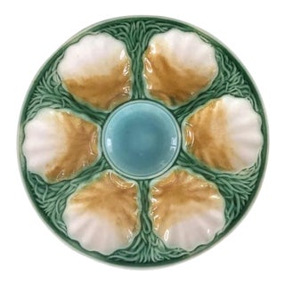 1890s French Majolica Oyster Plate With Seaweed Pattern For Sale