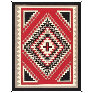 Navajo Style Wool Area Rug - 7′11″ × 10′4″ For Sale
