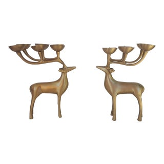 Vintage Modernist Brass 6 Point Stag Deer Candle Holders - a Pair