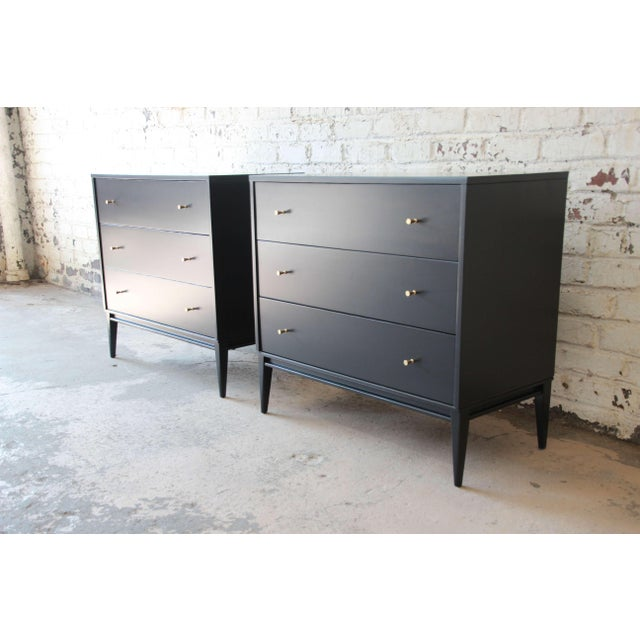 """Winchendon Furniture """"Planner Group"""" Paul McCobb Planner Group Ebonized Three Drawer Bachelor Chests or Large Nightstands, Pair For Sale - Image 4 of 11"""