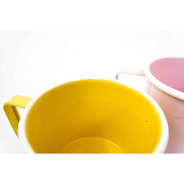 Paint Mid-Century Pastel Enamel Mugs - a Pair For Sale - Image 7 of 8
