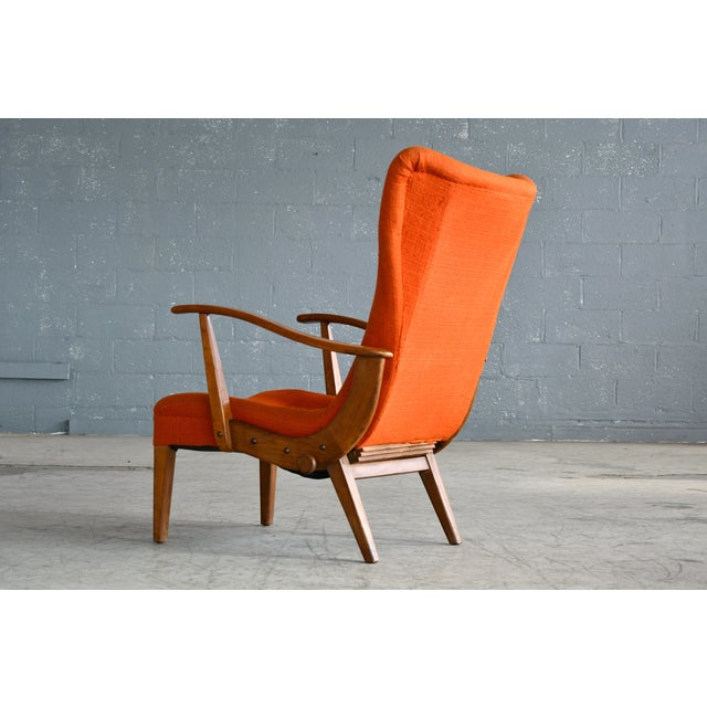 Orange Otto Færge Attributed Reclining Lounge in Teak, Denmark, 1950s For Sale - Image 8 of 10