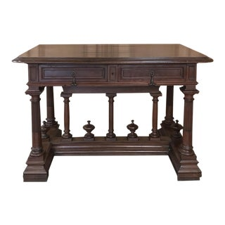 19th Century French Henri II Walnut Writing Table For Sale