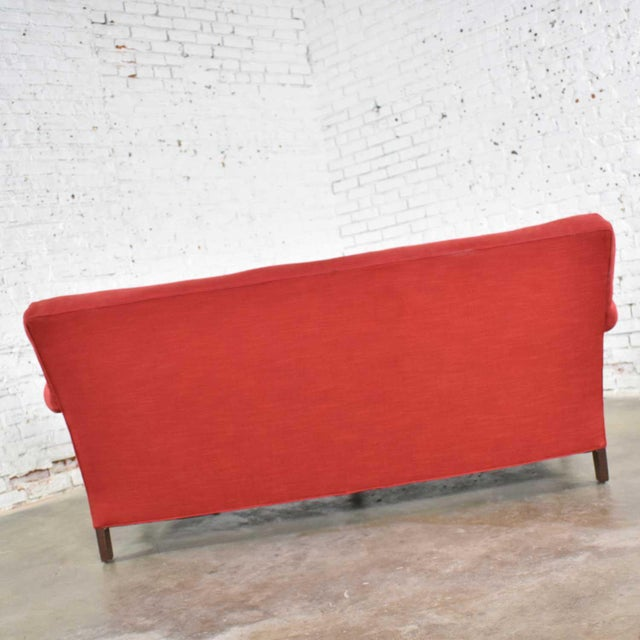 Red Red Smaller Size Lawson Sofa With Rolled Arms Down Bench Seat and Tight Back For Sale - Image 8 of 13