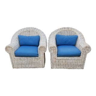 1980's Vintage Woven Rattan Modern Classic Sculptural Arm Chairs - a Pair For Sale