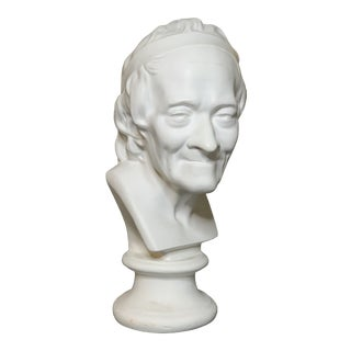 Plaster Bust of French Writer Voltaire After Houdon For Sale