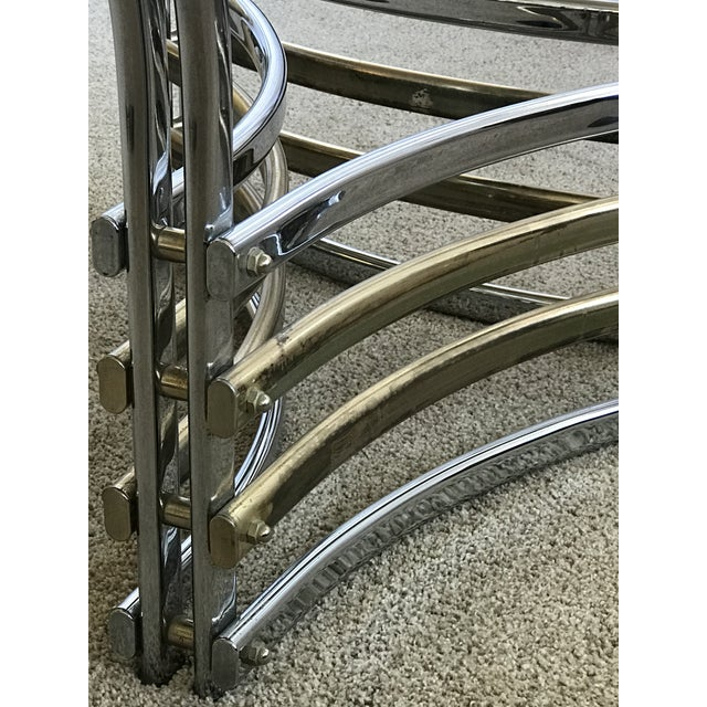 Modern 1980s Round Glass & Chrome/Brass Triangular Shape Dining Table For Sale - Image 3 of 13