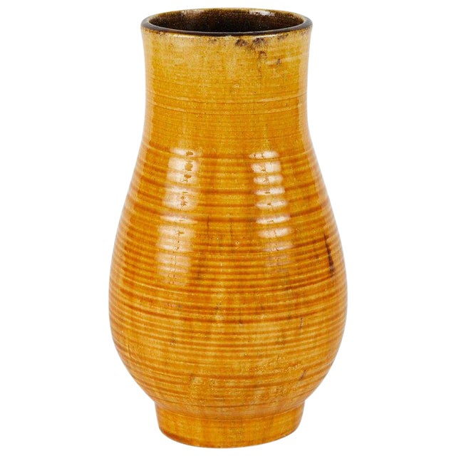 Mid-Century Yellow French Vase From Pottery For Sale