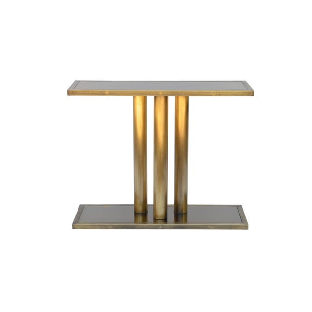 """Contemporary """"Calandre"""" Narrow Brass Mirrored Console For Sale - Image 9 of 9"""