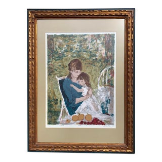 Vintage Original Lithograph of Mother and Child For Sale