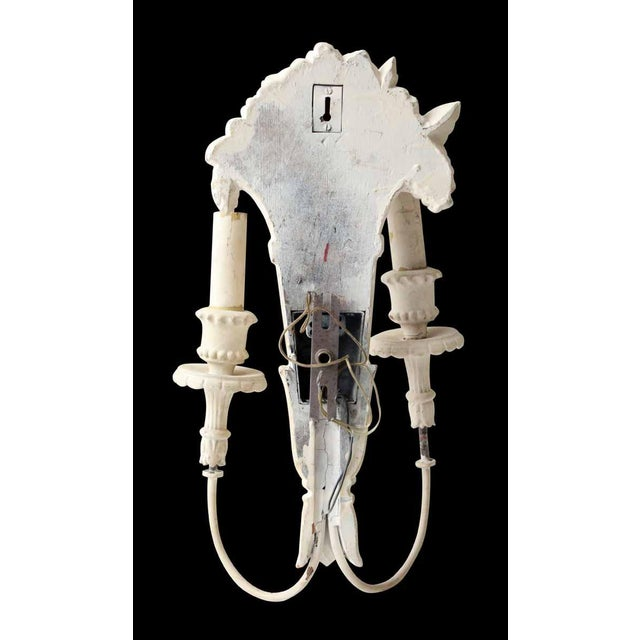 White Wood Sconces With Cornucopia Motif - A Pair For Sale - Image 6 of 11