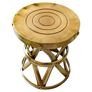 Vintage Mid-Century Polished Brass Stool, 1960s For Sale