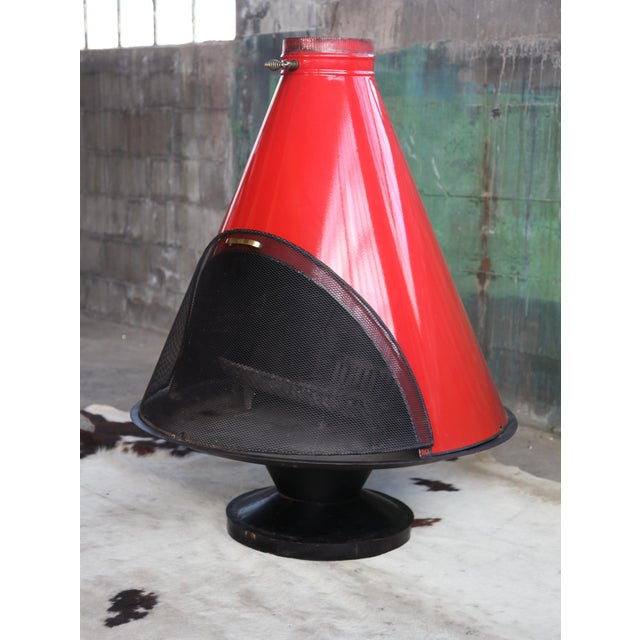 Red 1960s Mid Century Original Malm Preway Eames Era Wood Burning Red Freestanding Fireplace For Sale - Image 8 of 12