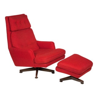 Edward J Wormley Red Lounge Chair & Ottoman For Sale