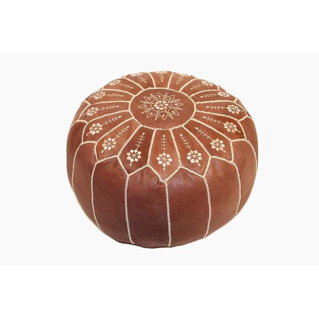 Embroidered Leather Pouf, Chestnut Starburst Stitch For Sale - Image 4 of 5