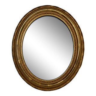 Antique Oval Giltwood Mirror For Sale