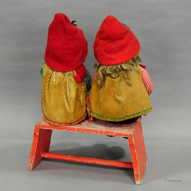 Wood A Pair Of Whimsical Handmade Felt Gnomes, Germany Ca. 1930 For Sale - Image 7 of 9