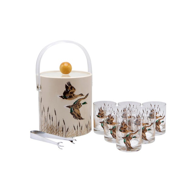 Taupe Ice Bucket With Matching Tumblers - Set of 8 For Sale - Image 8 of 8