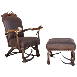 Antique Habsburg Red Stag Antler Leather Chair & Ottoman