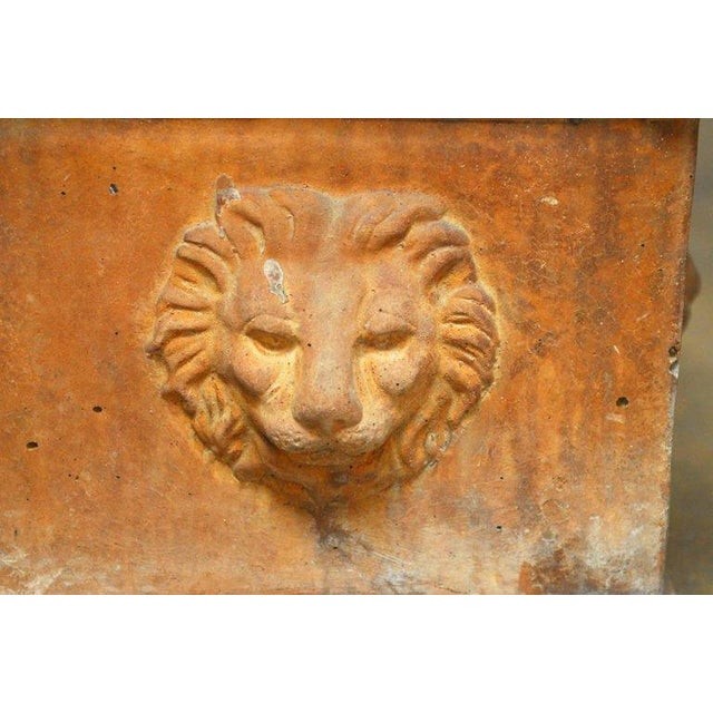 Continental Style Sandstone Planters with Lions Head Motif - Image 5 of 10