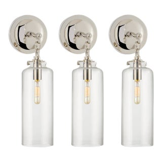 Thomas O'Brien for Visual Comfort Polished Nickel Cylinder Wall Sconces - Set of 3 For Sale