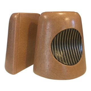 Mid Century Modern Tan & Black Leather Covered Bookends - a Pair