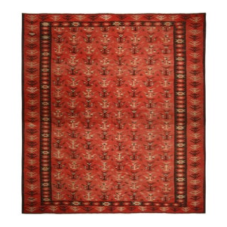 Vintage Mid-Century Pirot Salmon Red and Beige-Brown Wool Kilim Rug - 12′3″ × 13′9″ For Sale