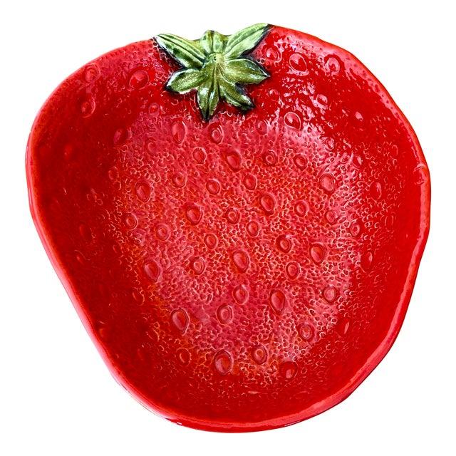 Large Italian Majolica Strawberry Bowl For Sale