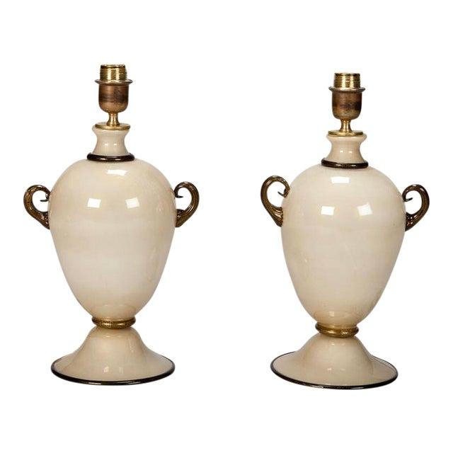 Pair of Mid Century Murano Amphora Art Glass Aventurine Table Lamps - Image 1 of 8