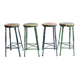 Vintage Folk Art Advertising Pepsi & 7up Stools - Set of 4 For Sale