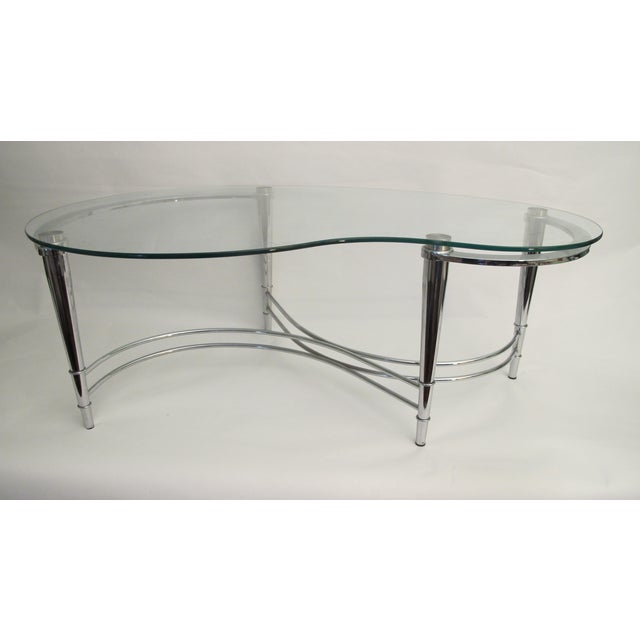 1980's Kidney Shaped Chrome Coffee Table - Image 2 of 4