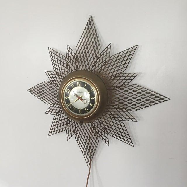 Brass Starburst Wall Clock - Image 2 of 7