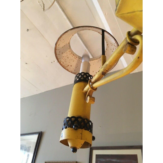Early 20th Century Regency French Yellow Painted Tole Five Light Chandelier For Sale - Image 11 of 13