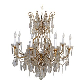 1960s Tole 8 Light Macaroni Beaded Cut Lead Crystal Chandelier For Sale