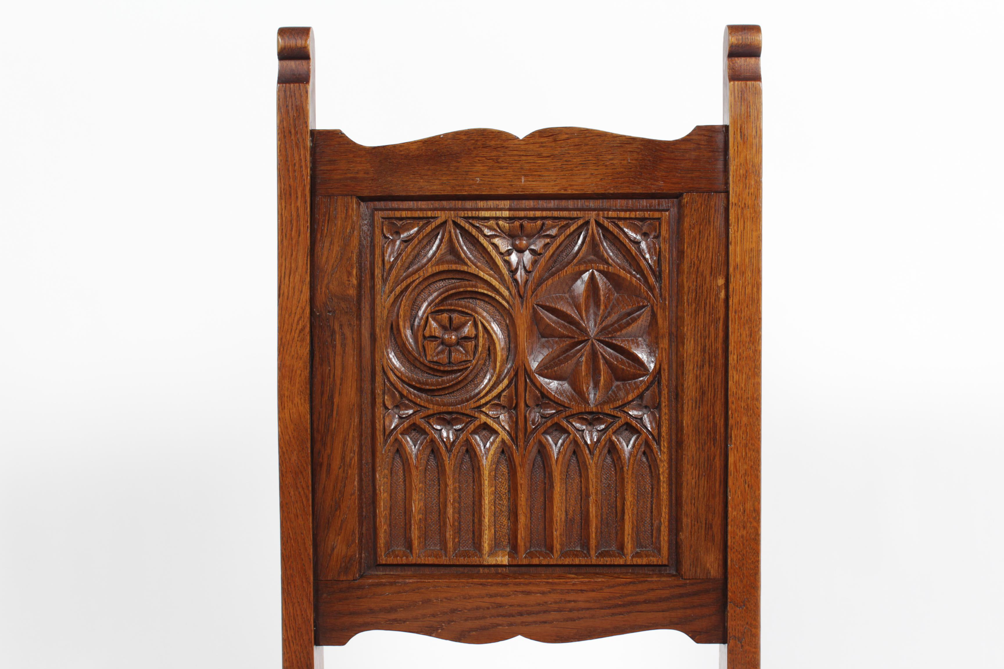 Neo Gothic Medieval Style Church Chairs, S/8   Image 3 Of 7