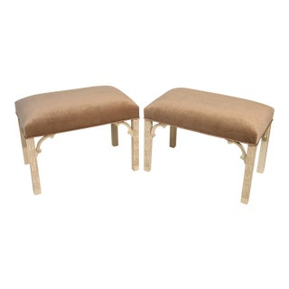 Ivory Painted and Upholstered Benches - a Pair For Sale