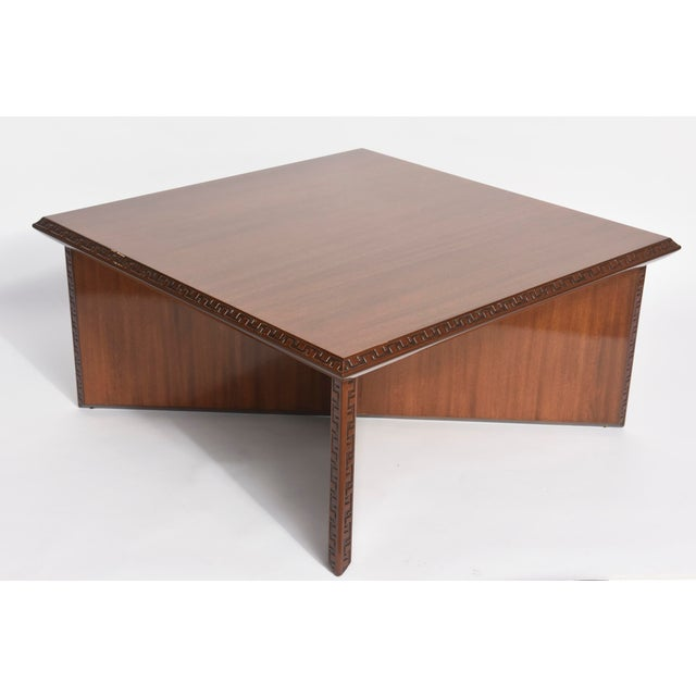 """The square top with Greek key motif on edges above an """"x"""" form base heritage Henredon for Frank Lloyd Wright."""